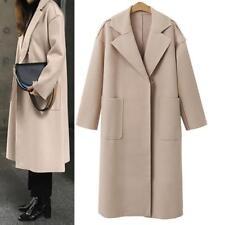 Ladies Oversize Loose Cashmere Woollen Jacket Long Cardigan Trench Coat Overcoat