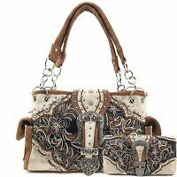 Justin West Rhinestone Buckle Western Floral Scroll Conceal Carry Handbag Purse