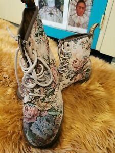 Rare Dr Martens Floral Tapestry Needlepoint Embroidery Carpet CASTEL Boots UK5