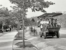 Vintage Old New York City  Electric Tourist Bus Riverside Drive Pony Cart 1908
