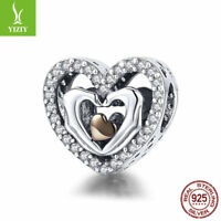 Finger Heart For Love 925 Sterling Silver Charm Bead Fit Chain Bracelet Women