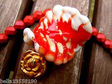 Neue Red Gold Foil White Fancy Twist-Blattperle aus Muranoglas- 30mm-