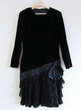 Mondi Sz 40/S Vintage 80s West Germany Black Velvet Tiered Ruffle Long Slv Dress