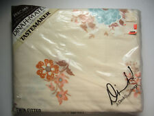 Vintage Dinah Shore design Garden Corsage - Twin Fitted Floral Tan Sheet -Unused