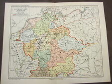 GERMANY AROUND THE YEAR 1000 MAP 1800'S GERMAN CHROMOLITHOGRAPH-COUNTRY-EUROPE