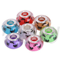 5pcs 14x9mm Resin Big Hole Rondelle Spacer Beads Fit European Charm DIY Gift