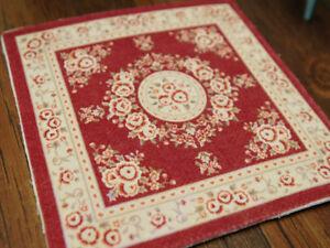 Square Shape Red Beige Rose Garland Decorative Dollhouse Rug 1:12