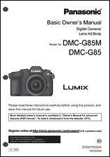 Panasonic Lumix DMC-G85 Basic Camera User Guide Instruction Manual