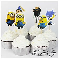 12 x Minions CUPCAKE TOPPER Party Pick Food Fruit Lolly Loot Bag Supplies Deco