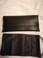 Mens Black Designer Glasses Case Safilo with Smart strap and pouch, Leather
