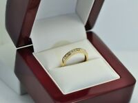 Genuine Solid 0.20 Ct Diamond Eternity Engagement Ring 9K Yellow Gold
