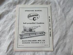 Allis Chalmers Gleaner combine C operator's manual