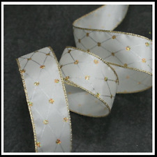 Christmas Ribbon CREAM & GOLD 38mm x 4 meters - Wired Ribbon