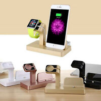 1pcs Charging and Dock Station Bamboo Stand Holder For Apple Watch iWatch iPhone