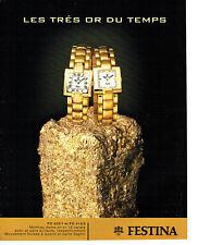 Publicité Advertising 088  2003   montre femme or  Festina
