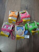 Lot Of 5 Ugly Dolls To Go Keychain Plush Toys Moxy + Ugly Dog + Ox - Wage + Luck
