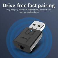 Black Bluetooth 5.0 Audio Transmitter Receiver USB Adapter For TV PC Car Speaker
