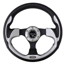 NRG STEERING WHEEL 320MM SPORT LEATHER With Silver Inserts (PILOT Pilota Style)