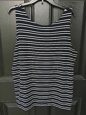 New Chico's Travelers Ink Navy Blue & White Striped Tank Top Sz 3 = XL 16 18 NWT
