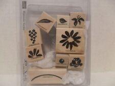 Stampin Up Water Color Garden. Flower, Leaf , Stem. 9 Wood Mount Stamps