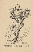 "Ex libris ART DECO ""Dance with death"" by PETRICEK ADOLF (1883-1943) Czech"