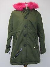Pretty Little Thing Women's Jen Fuschia Faux Fur Lined Parka US 10 Olive  NWT