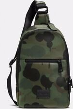 COACH MEN 72059 CAMPUS LEATHER SLING PACK ~ Camo Wild Beast Military ~ NWT $395