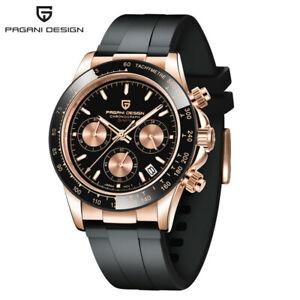 PAGANI DESIGN Men's Business Quartz Watch Date 100m Silicone  Strap reloj Box