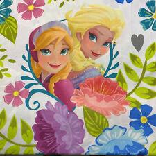 Disney Frozen Anna & Elsa Full Flat Sheet Floral Fabric 100% Polyester