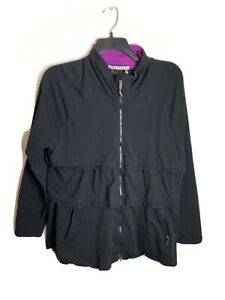Athleta 3 Tier Black Lightweight Active Wear Zipper Jacket Womens Size 2X FLAW