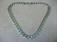 "MENS HEAVYWEIGHT STERLING SILVER FINE QUALITY CURB LINKED NECK CHAIN..20.5"" LONG"