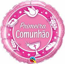 Primeira Comunhao Rosa Qualatex 18cm Balao de Folha