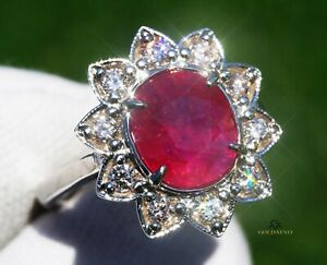 Ruby Ring Gold Diamond 14K Natural GIA Certified NO HEAT 3.95CTW RETAIL $15,300
