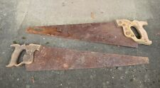 2 Vintage Rusty Hand Saws Carpentry Woodworking Repurpose Warranted Craftsman