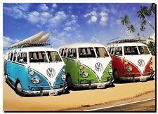 30741b57666 VW Camper   Combi   Kombi Van Retro - Quality Canvas Art Print Poster 12x8