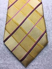 PAUL MALONE MENS TIE GOLD WITH PINK AND BLACK 3.75 X 61 NWOT