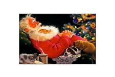 Christmas Best Gift Home Wall Decor Santa Claus Oil Painting Printed On Canvas