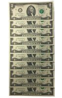 10 Consecutive Serial # Uncirculated $2 (2013) BILL STAR NOTES in 10-Page ALBUM