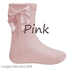 Pex Baby Girls Knee High Satin Ribbon Bow White Pink Socks NB-6Y Cotton Rich