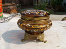 Antique Victorian Enameled Amber Glass Brass Footed Dresser Jar