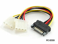 "6"" SATA 15-Pin Male to Dual 4-Pin Molex Y Power Splitter - CablesOnline PC-025D"