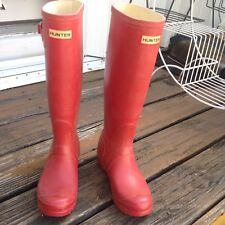 Hunter Red Wellies Tall Rain Boot Galoshes Womens 5 M4 UK3 EU 35 36 Rubber Shoes