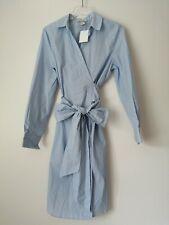 H&m Trend Blue Shirt Dress With Waist Tie UK Size 8 EUR 34