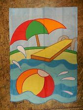 Swimming Pool, Diving Board, Beach Ball & Umbrella, Summer applique Garden flag