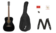 Fender Cc-60S Concert Acoustic Black Guitar Package w/Bag/Strap/Picks/Strings