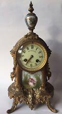 """Antique French Gilt Metal Clock Marti et Cie Medaille D'Argent 1889 14"""""""