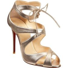 Christian Louboutin Marechale 100 Gold Leather Sandals 38 8 Worn Once