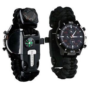 Survival Bracelet Watch, Men & Women Emergency Survival Watch with Paracord/W...