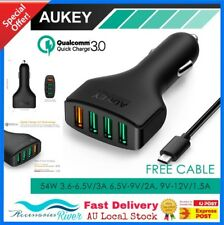 Orignal AUKEY 3 Port Qualcomm Qc 3.0 USB C Cable Car Charger Apple Samsung S8