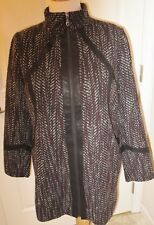 NWOT Women's SA by Seth Aaron Zip Front Coat with Faux Leather Trim - Tweed - 16